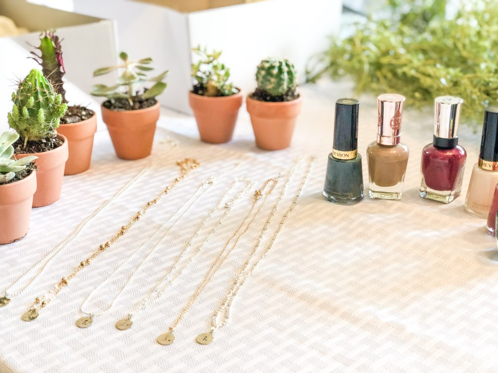 Unique Bridesmaid Proposal Idea: DIY Bridesmaid Brunch with Gift Box Gifts Goodies Jewelry Stamping Necklaces