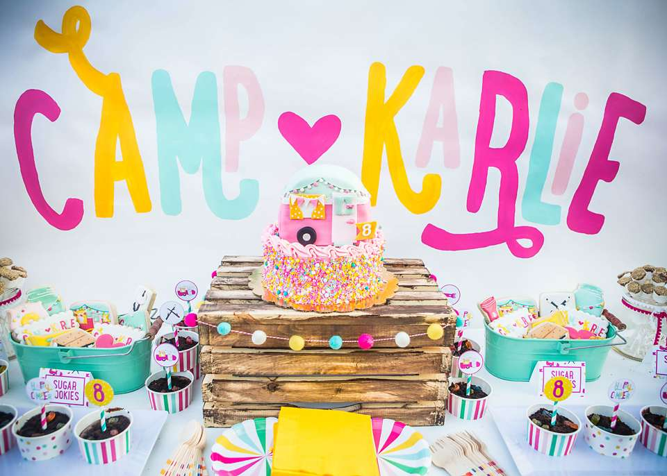 15 Girly Birthday Theme Ideas for Little Girls : Camping Theme with Bright Vibrant Colors