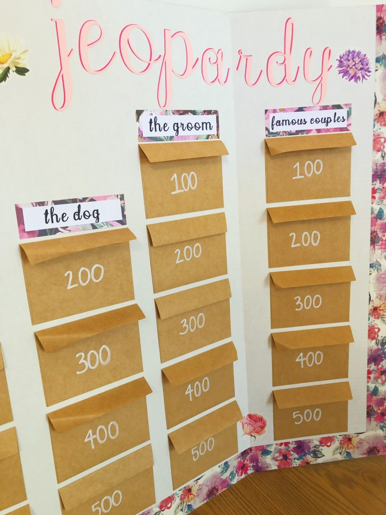 Your complete guide to preparing a floral bridal jeopardy board game for the cutest addition to your next bridal shower. Complete with question and category ideas, and of course all the party ideas you could ever dream of!