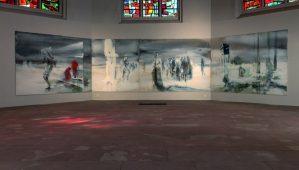 Andrea Neumann, Der seltsame Gleichmut der Gravitation, 2018, Ansichten tin der Johanneskirche, Foto: Ludwig Schmidtpeter