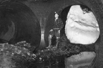 A worker inside the Moffat Tunnel. Image courtesy Denver Water.
