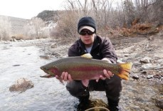 "What a catch! Rainbow trout from the Blue River. Image courtesy ,a href=""http://www.intheriffle.com/destinations/blue-river/"">In The Riffle."