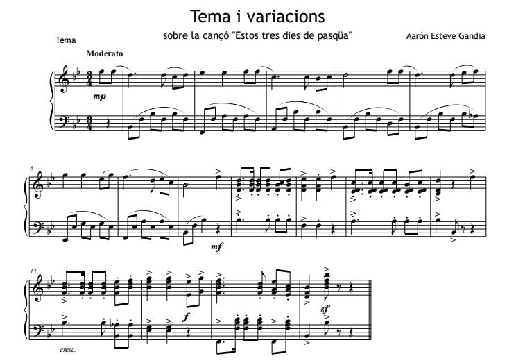 estos tres dies de pasqua partitura piano pdf