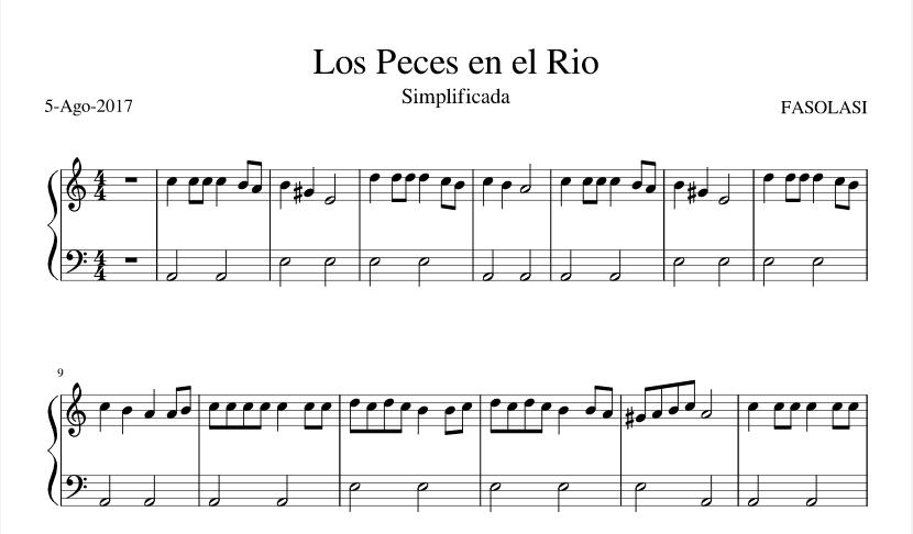 los peces en el río piano pdf