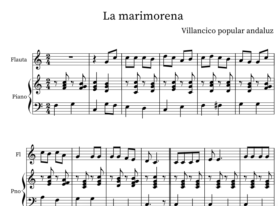 villancico la marimorena piano fácil pdf