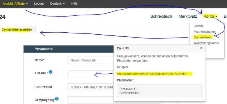 Affiliate Link Digistore24 - Anleitung Contentlink erstellen