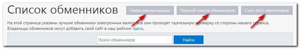 списки обменников Kurs.expert