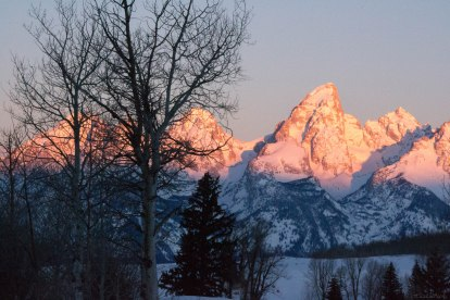 Alpenglow at sunrise in the Tetons