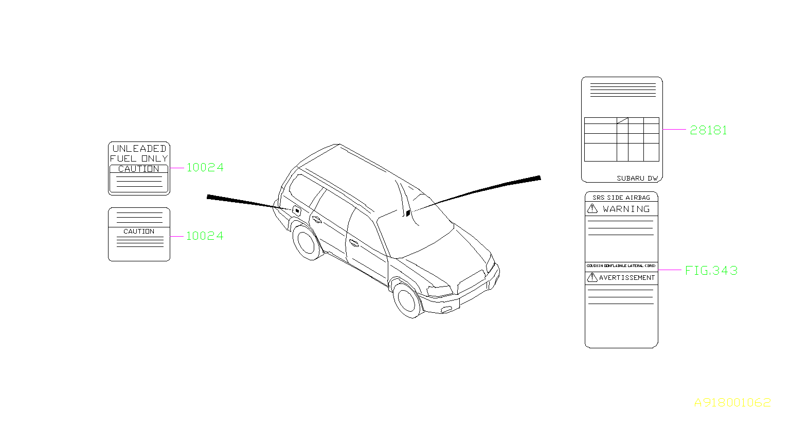 Subaru Forester Fuel Information Label Canada Usa