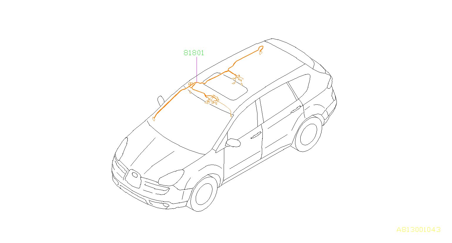 Subaru Tribeca Sunroof Wiring Harness Right Cord Roof