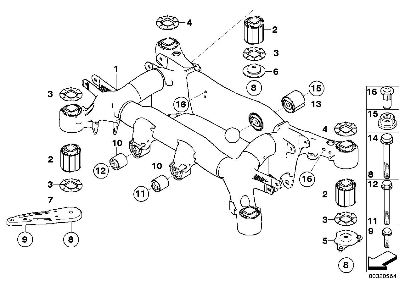 Bmw 650i Rubber Mounting Axle Suspension Rear Carrier