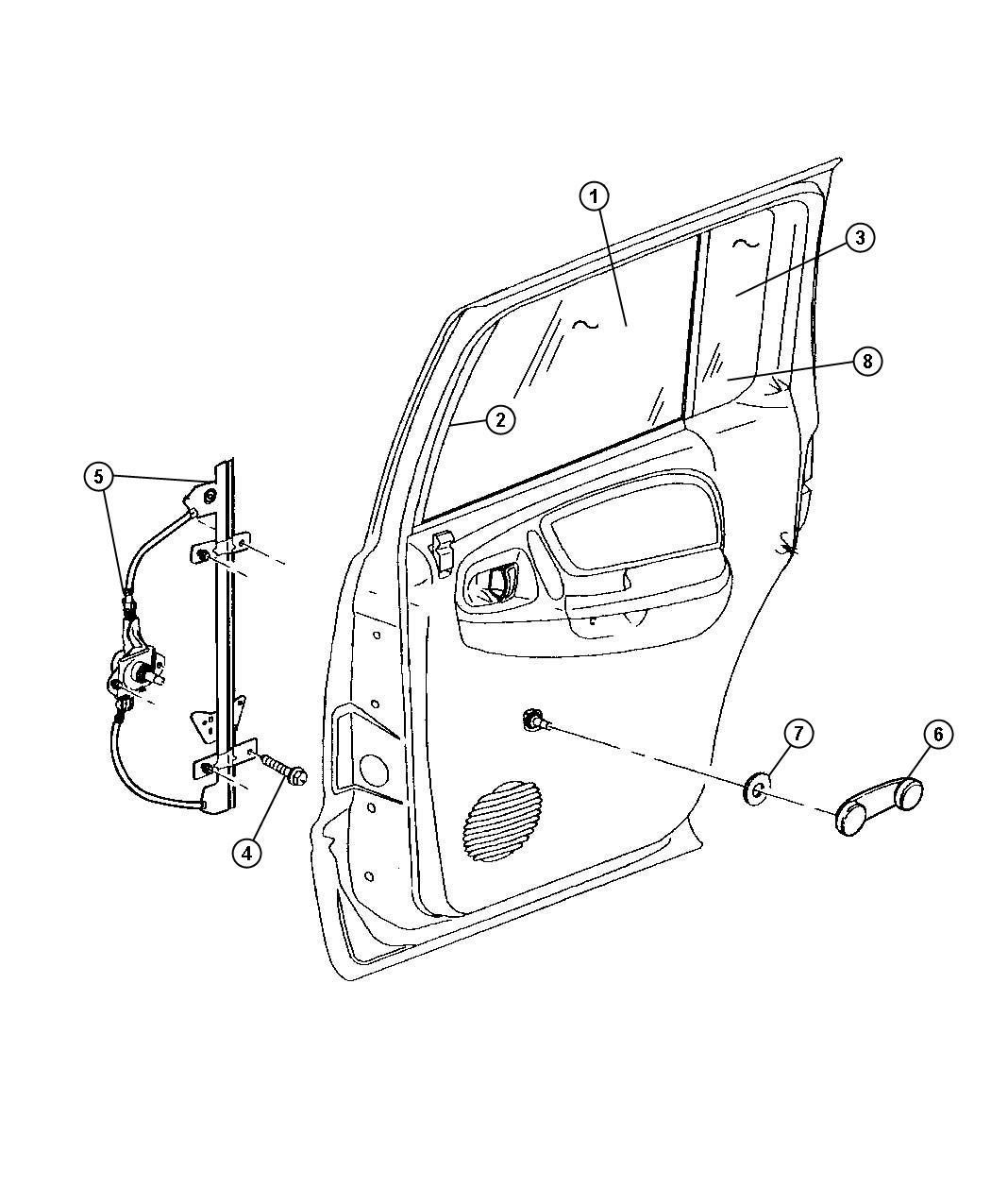Dodge Durango Handle Window Regulator Used For Right