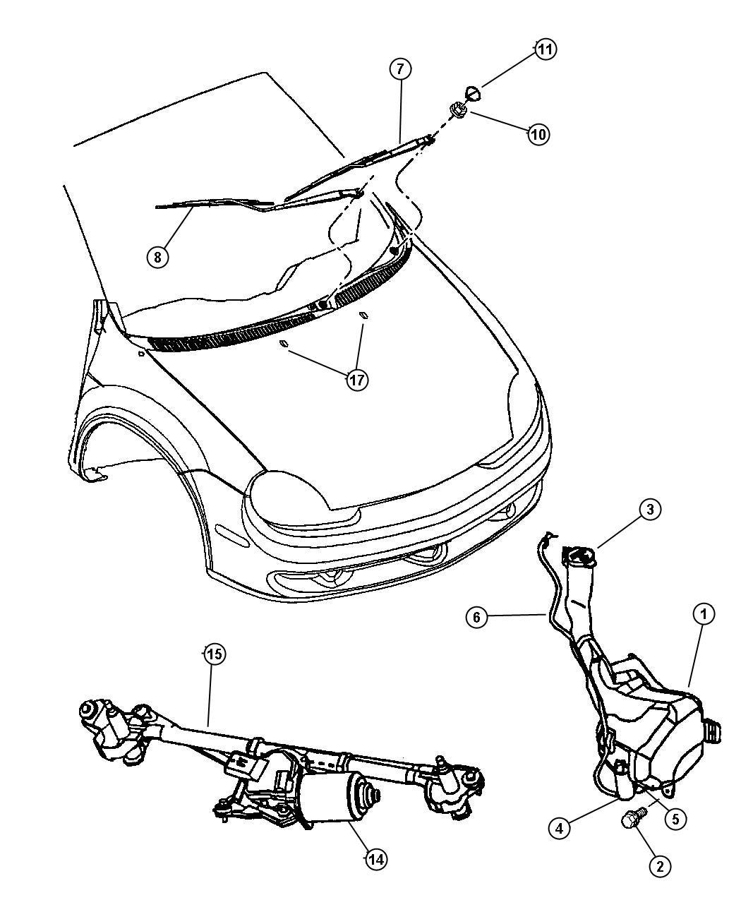 Dodge Neon Pump Washer Windshield Rear
