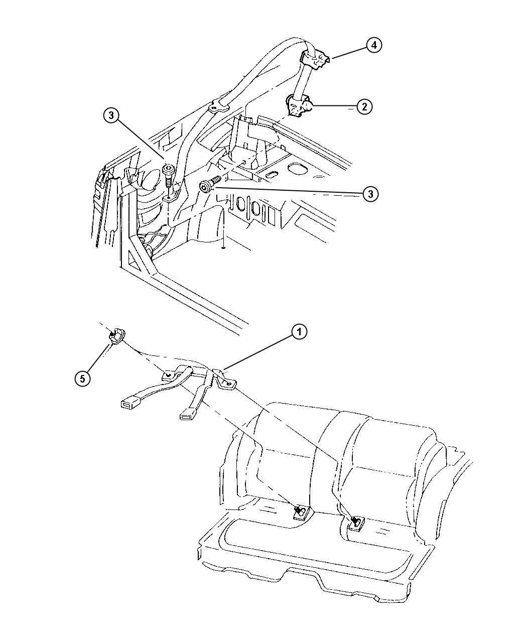 Chrysler Sebring Seat Belt Rear Inner L5 Trim All