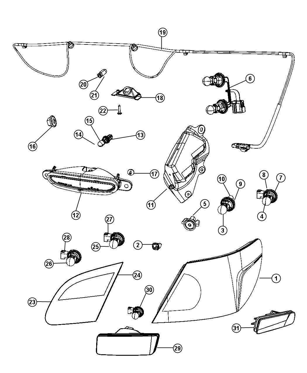 Chrysler Sebring Lamp Tail Stop Turn Right European