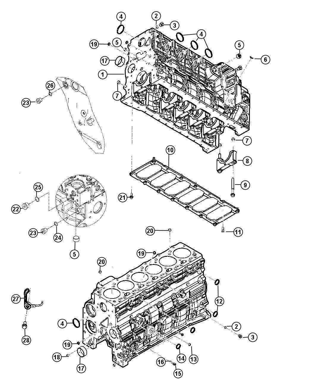 Dodge Ram Plug Core Cylinder Block Cylinder Block