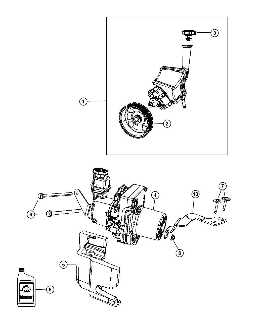 Dodge Charger Cap Power Steering Reservoir Front