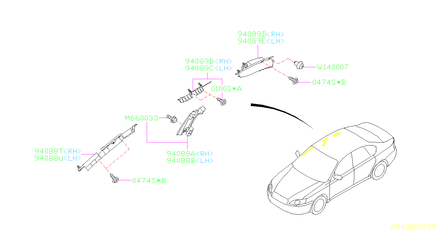 Subaru Legacy Pad Assembly Front Pillar Right Trim