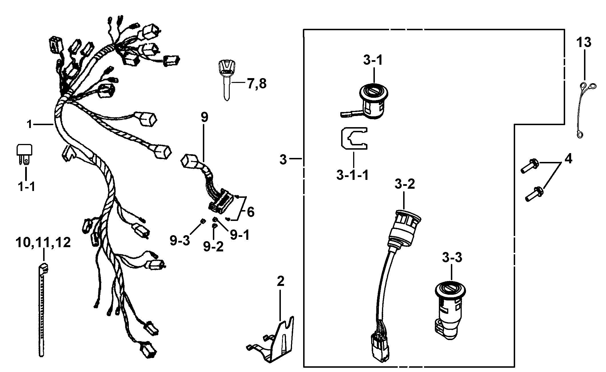 425c 119 Wiring Harness Locks