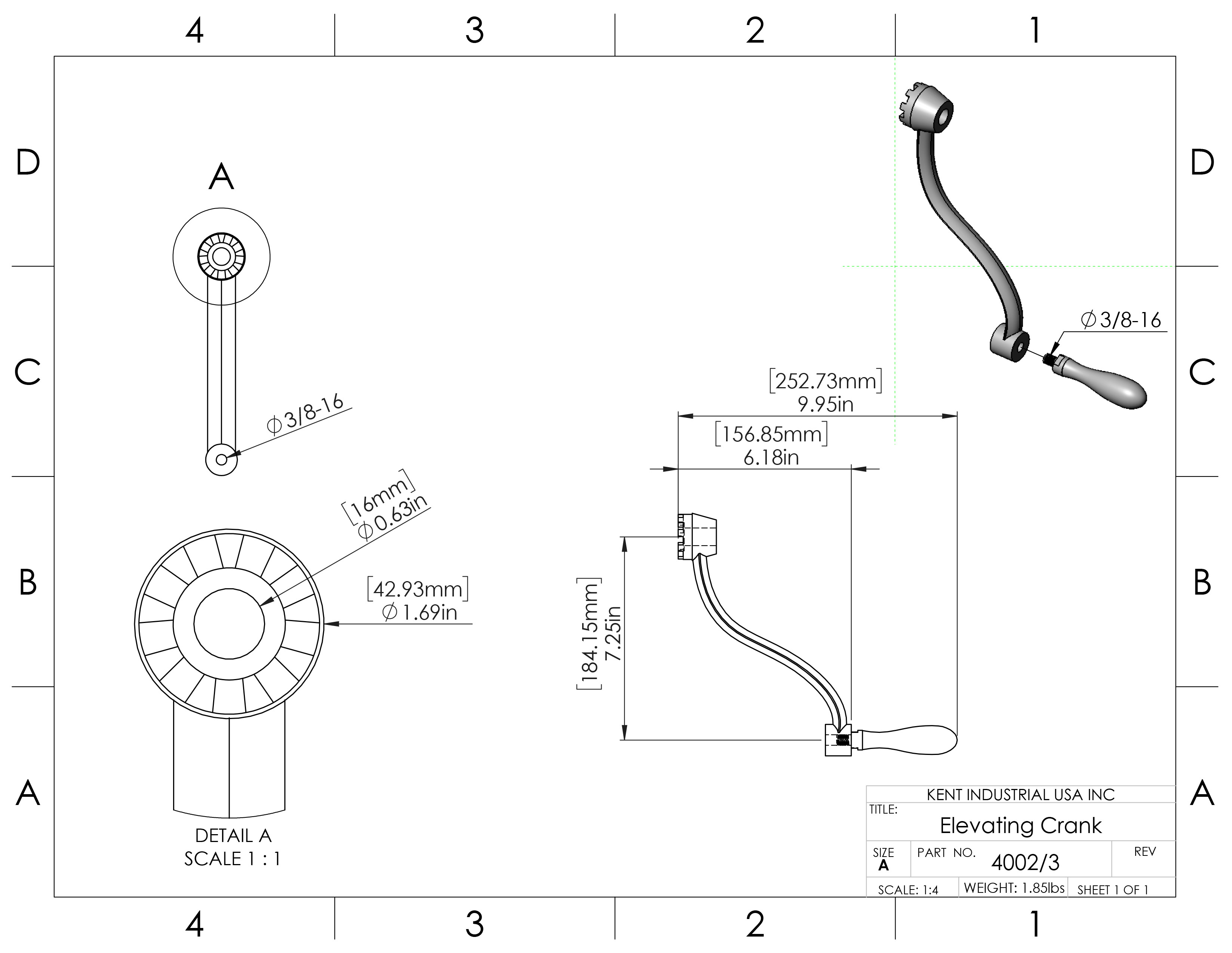 Elevating Crank Handle Assembly For Mills 3 Kent