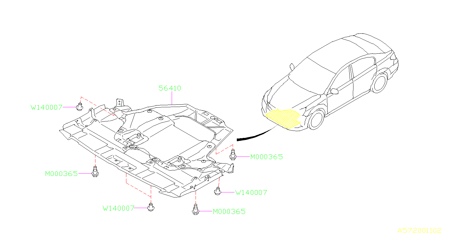 Subaru Legacy Under Cover Front Exhaust Body
