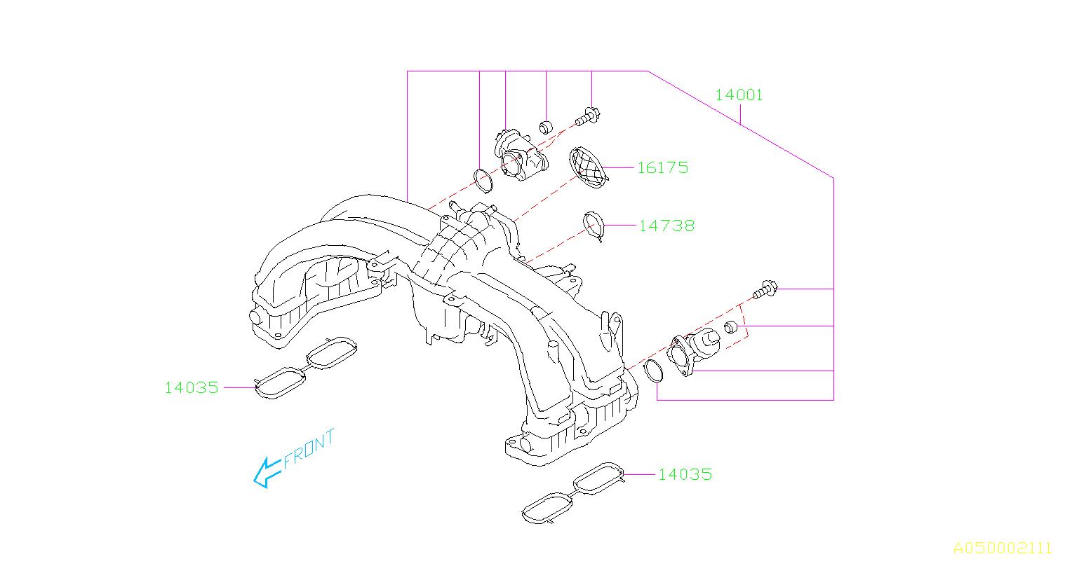 subaru outback gasket intake manifold body throttle chamber