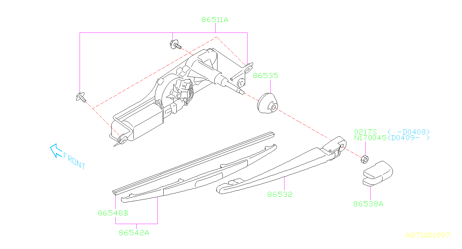 Subaru Impreza Arm Assembly Rear Wiper Electrical