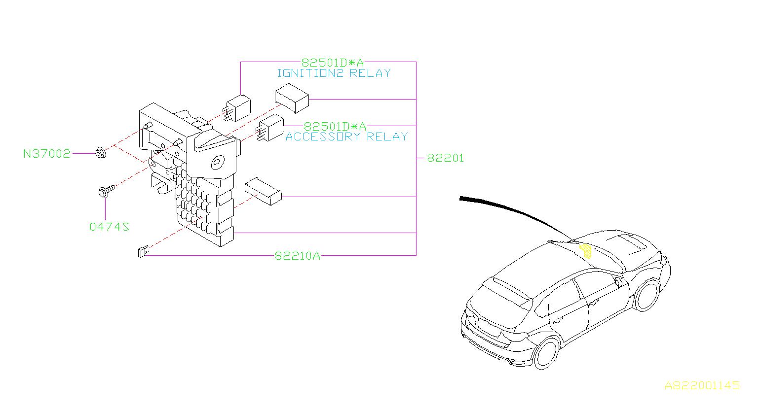 Subaru Impreza Accessory Power Relay Box Fuse Main