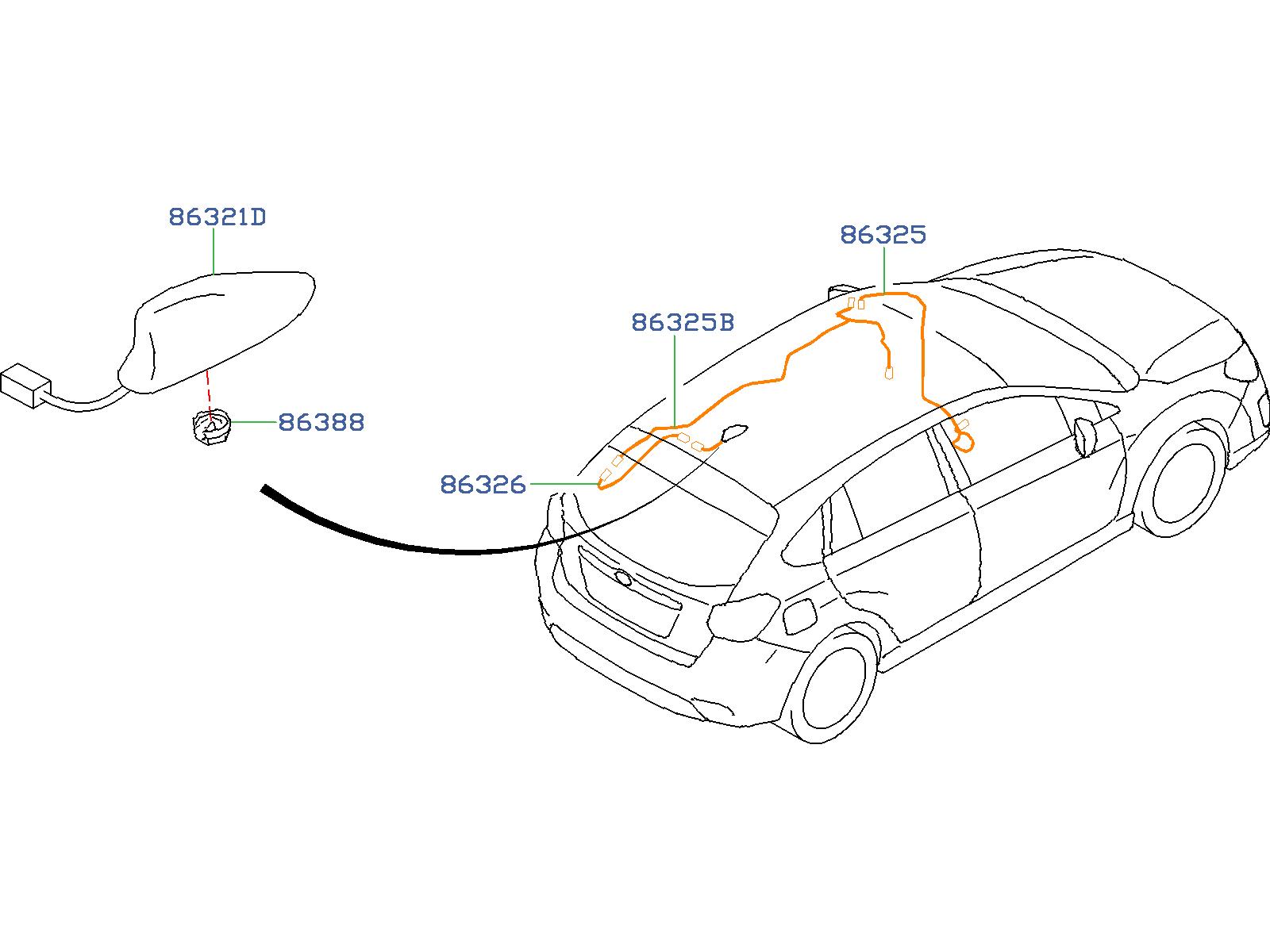 Subaru Impreza Cord Assembly Antenna Feeder B Audio