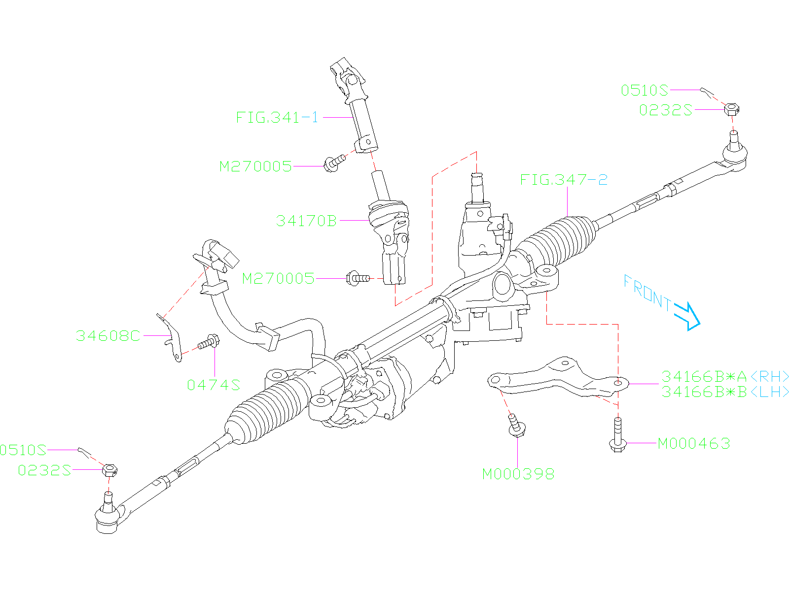 Subaru Ascent Clamp Stiffener Steering Power Gear