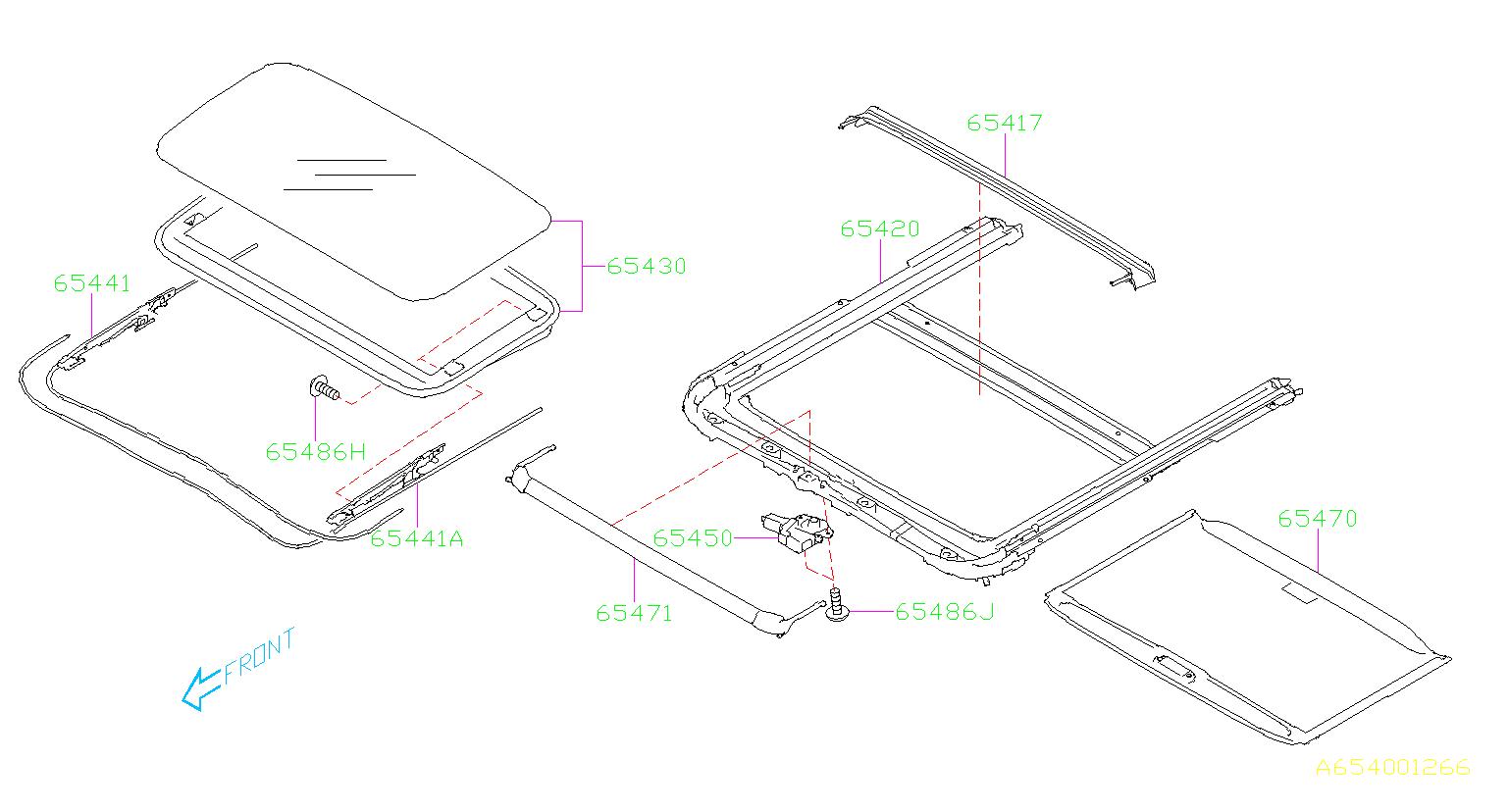 Subaru Outback Sun Shade Assembly Sunroof Roof Interior Body