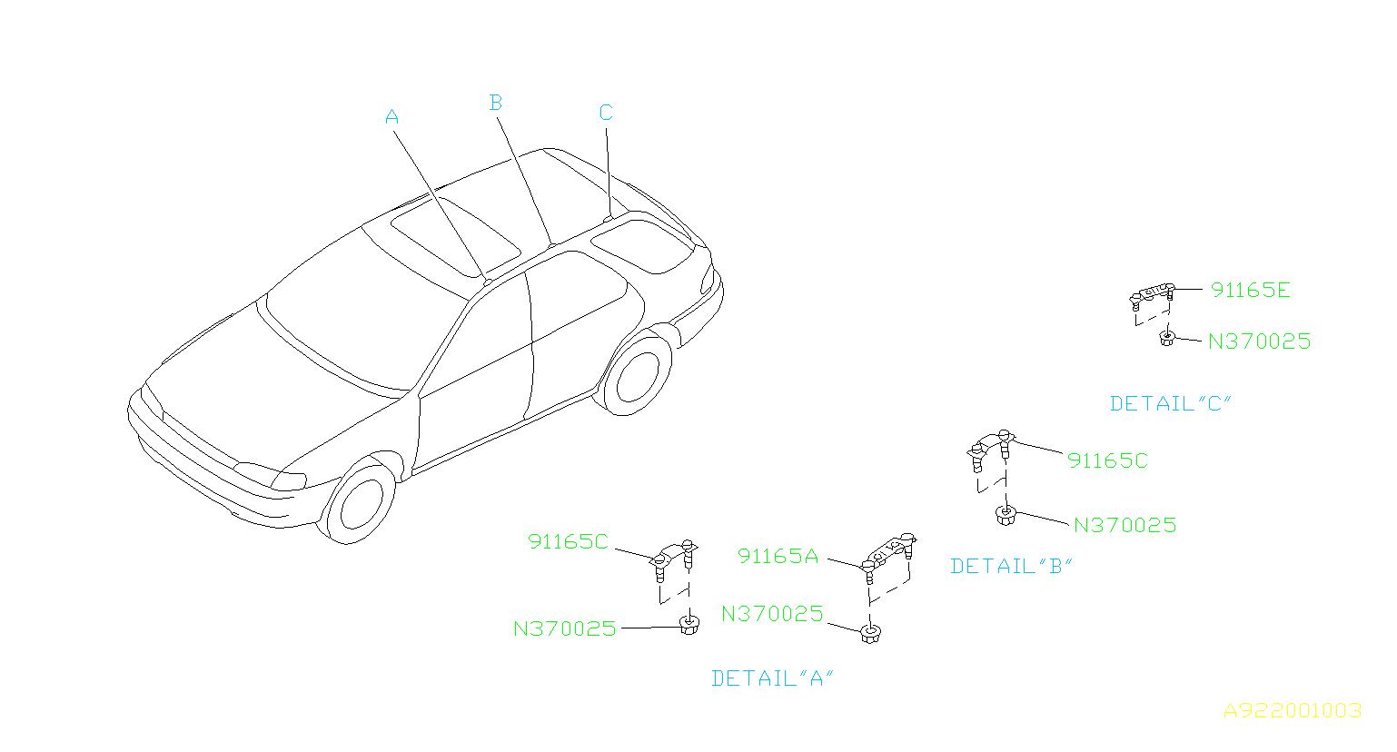 Subaru Impreza Bracket Roof Rail Rear Right Body