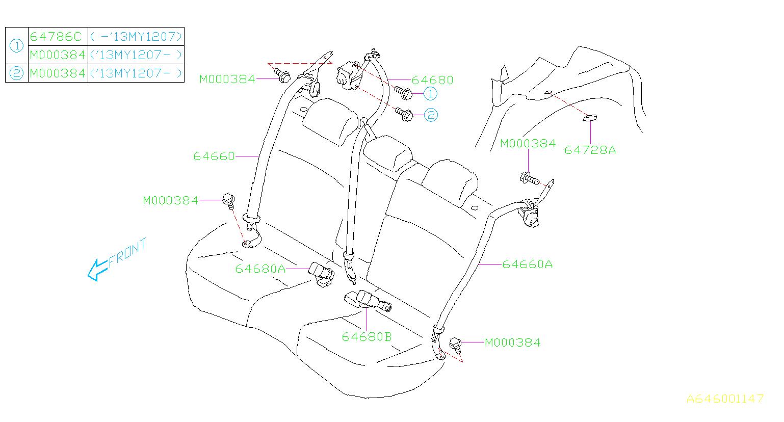 Subaru Crosstrek Seat Belt Rear Shoulder Center