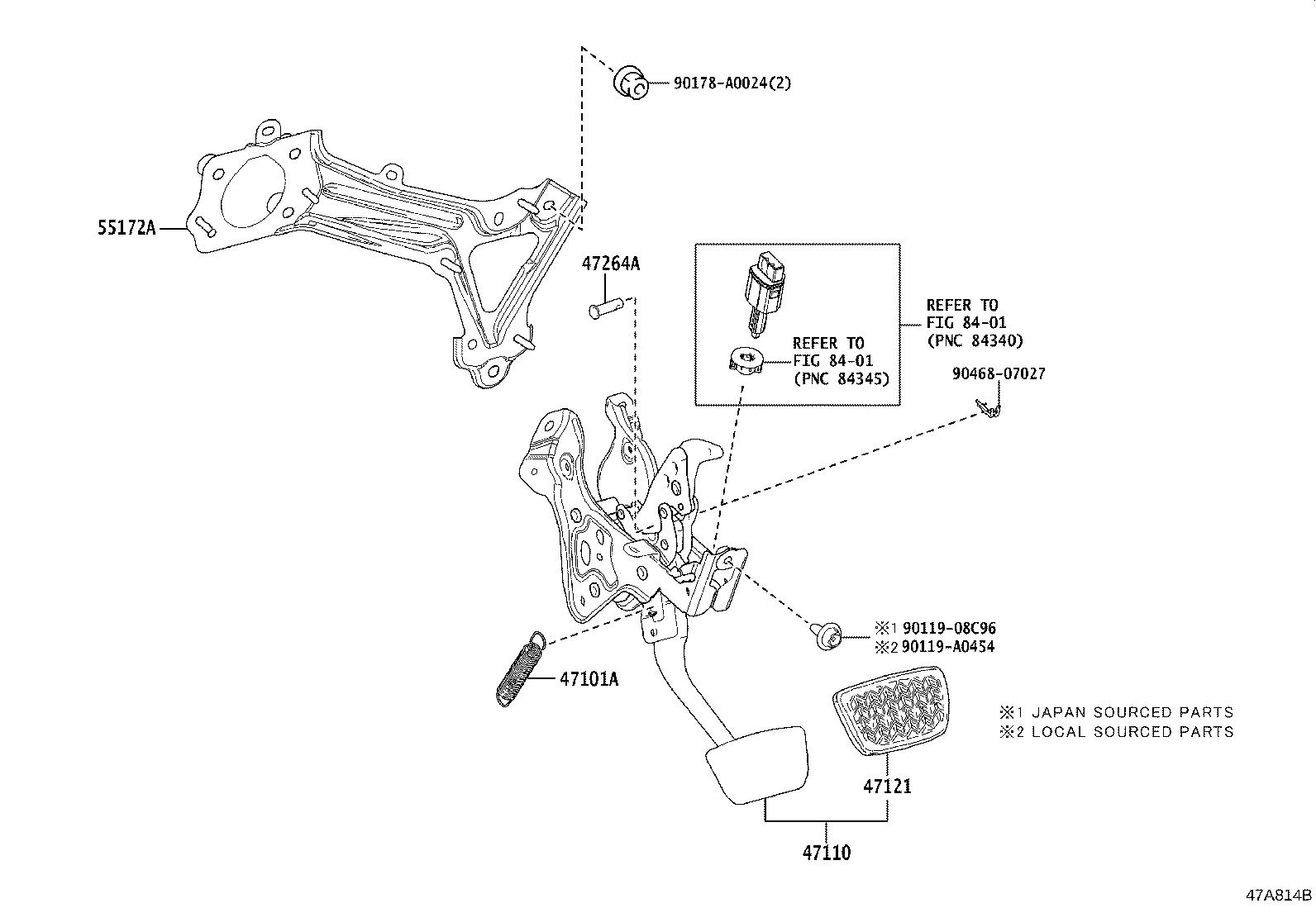 Toyota Camry Base Brake Pedal Support Brakes Suspension