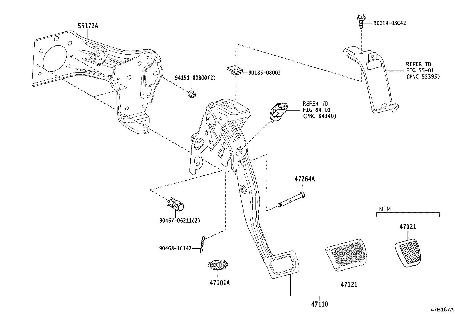 Toyota Corolla Hatchback Support Assembly Brake Pedal