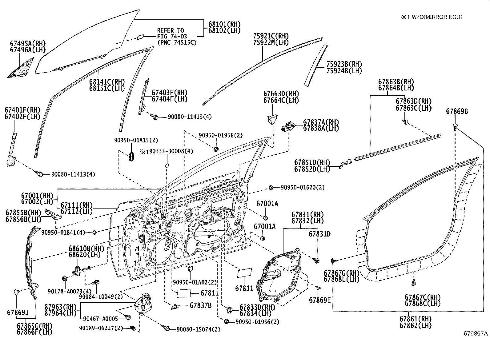 Toyota Avalon Window Regulator Guide Left Front Rear