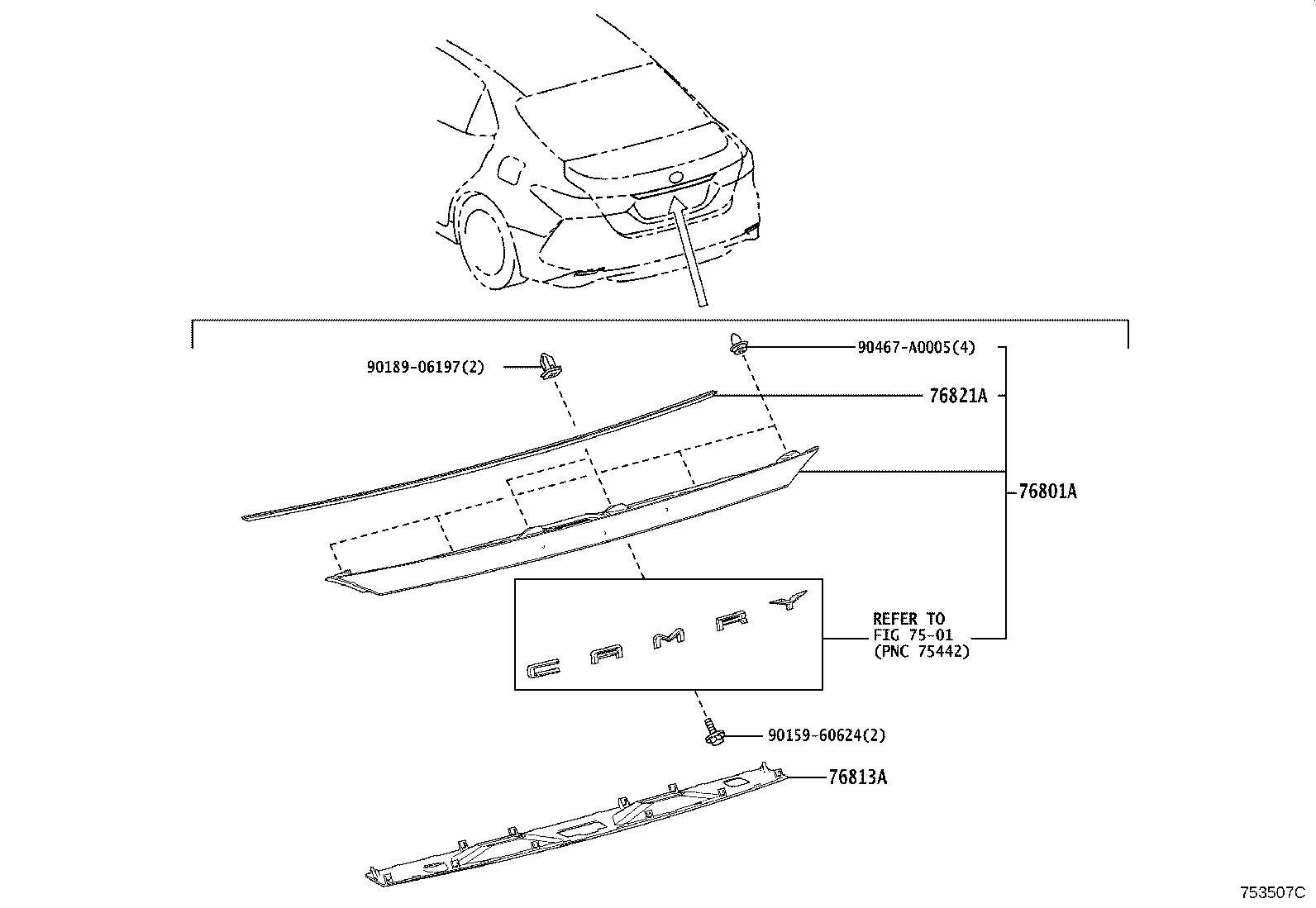 Toyota Camry Garnish Luggage Compartment Door Outside No