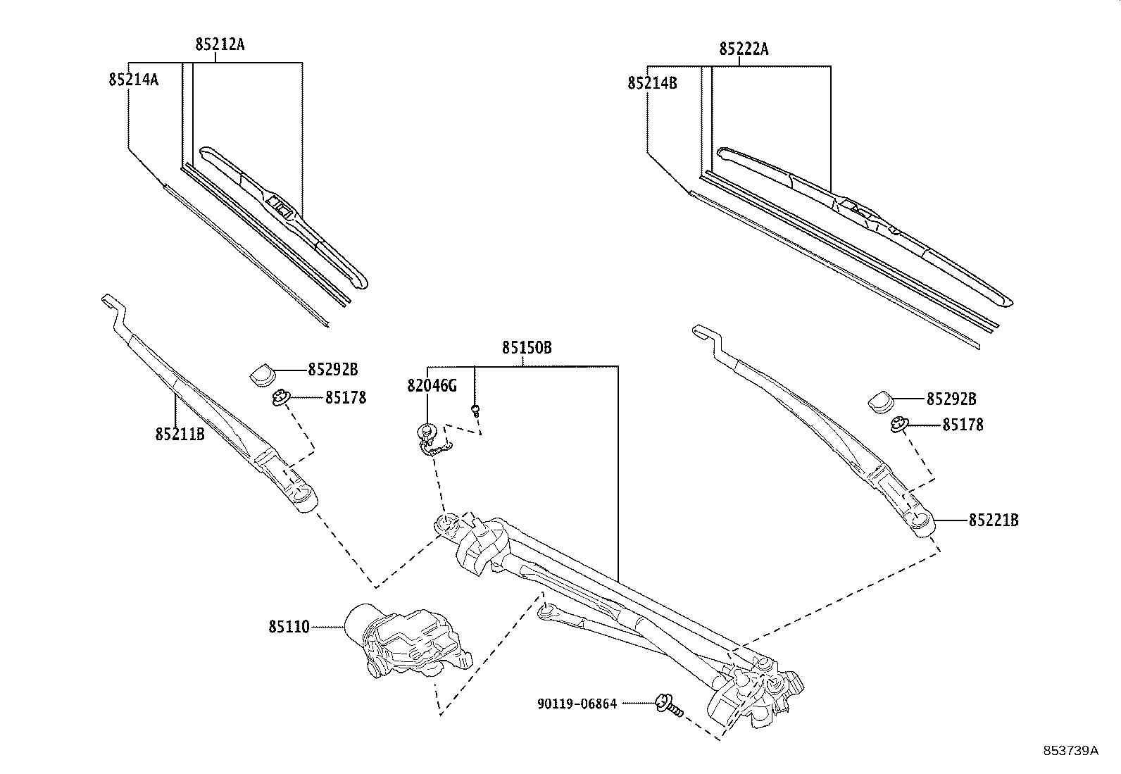 Toyota Camry Windshield Wiper Motor Front Make Replace