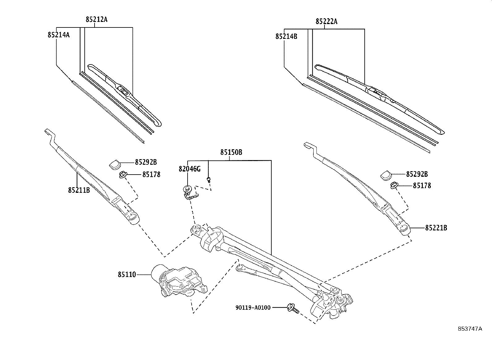 Toyota Camry Windshield Wiper Arm Left Front
