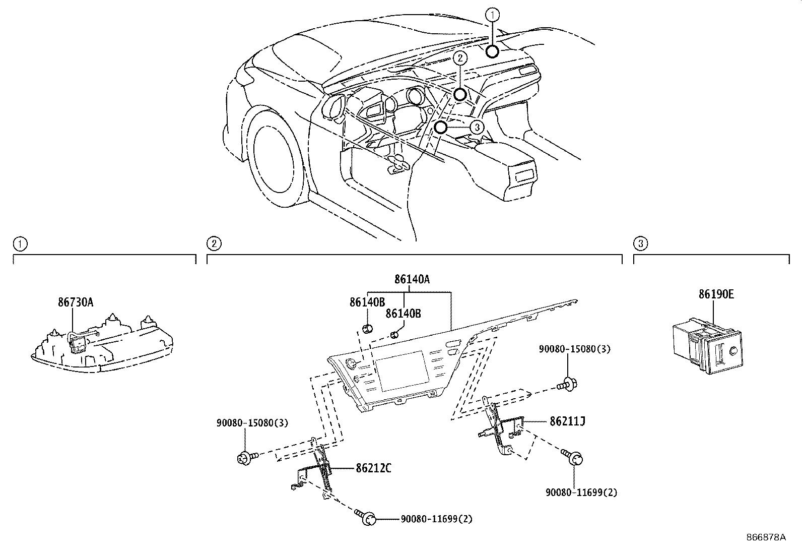 Toyota Camry Receiver Assembly Radio Amp Display