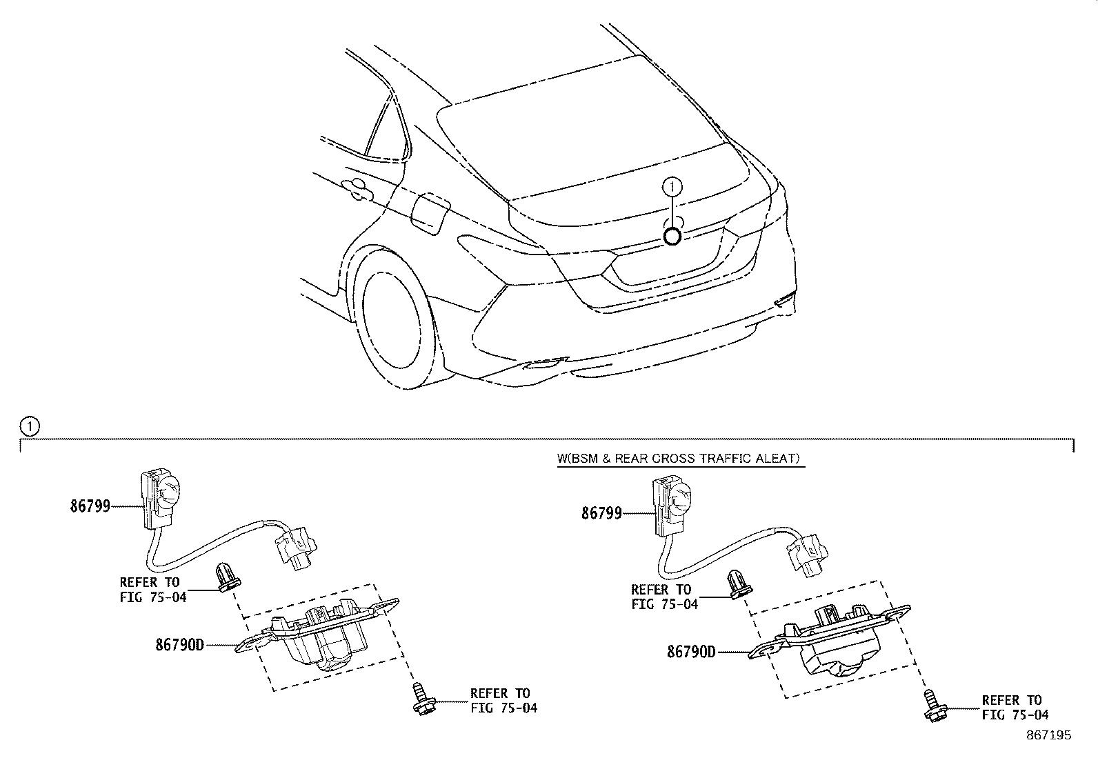 Toyota Camry Park Assist Camera Rear Electrical Make