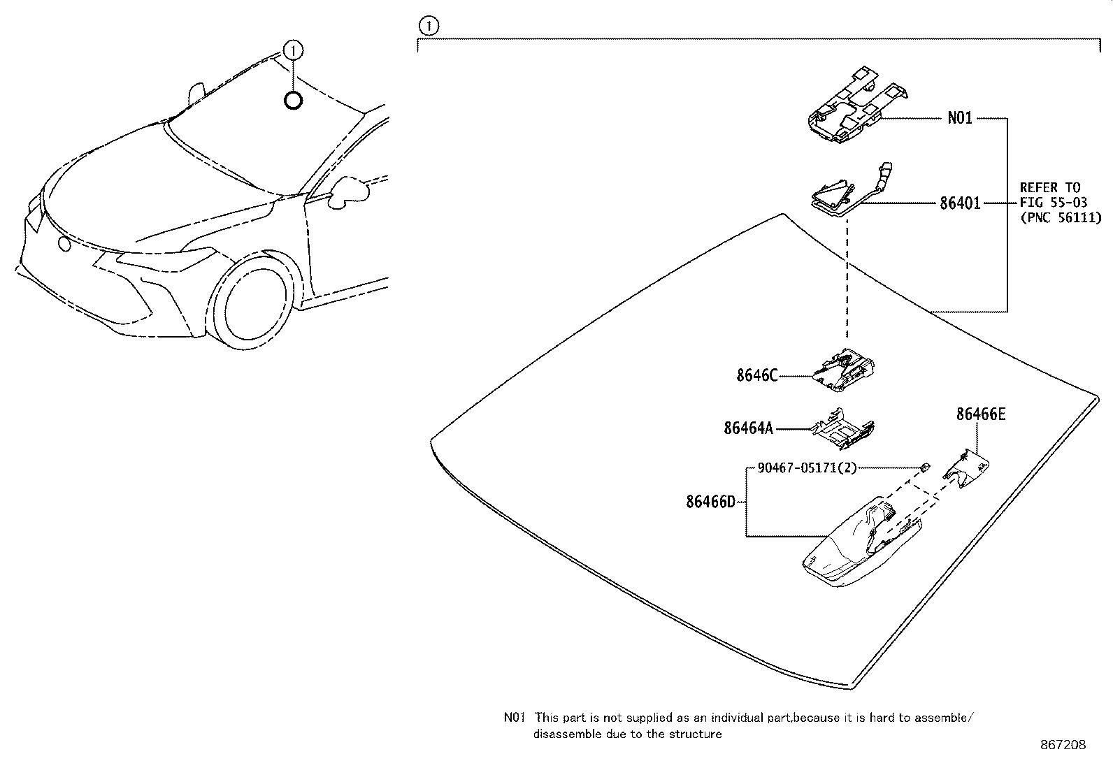 Toyota Avalon Hood Sub Assembly Forward Recognition With