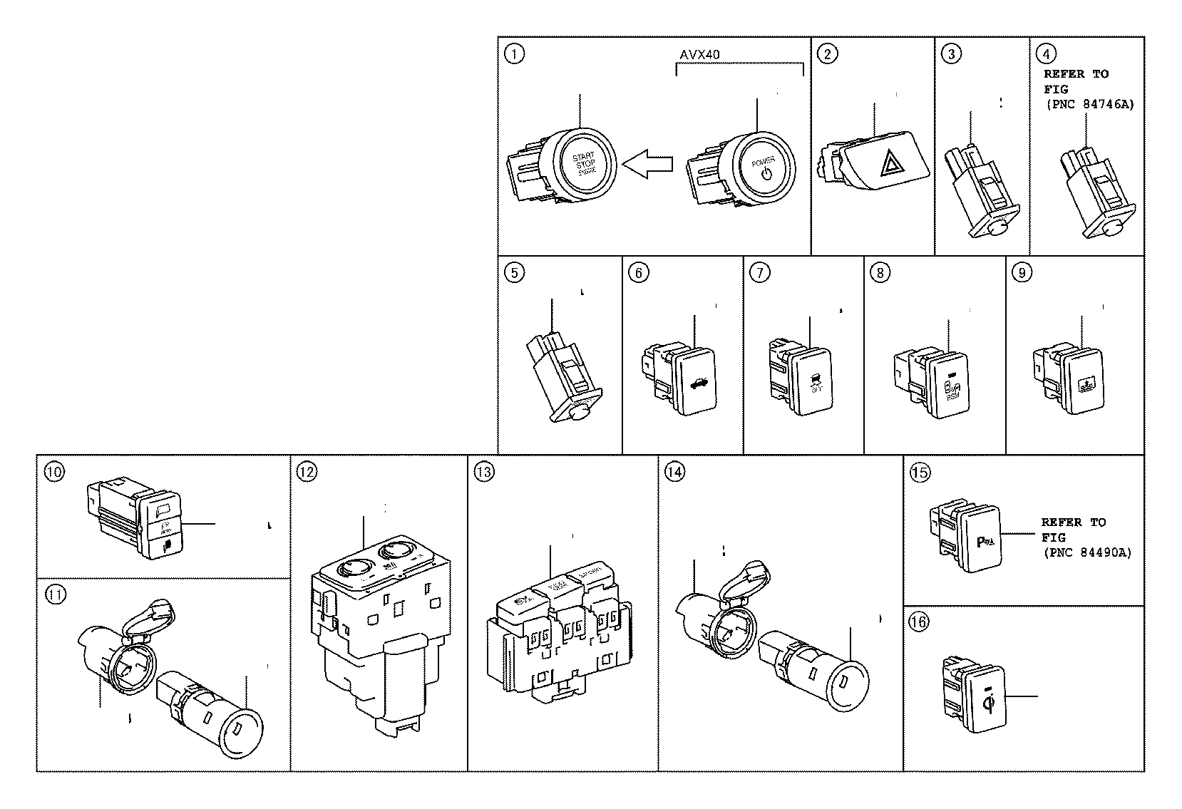 Toyota Avalon Switch Assembly Combination Electrical