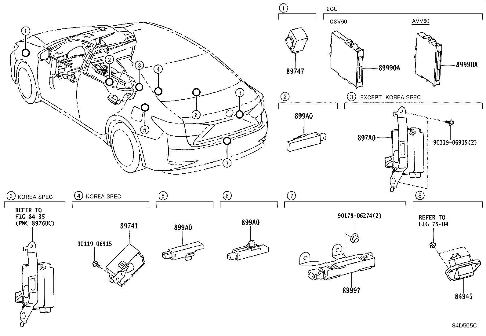 Lexus Es 350 Receiver Assembly Door Control Amp Tire