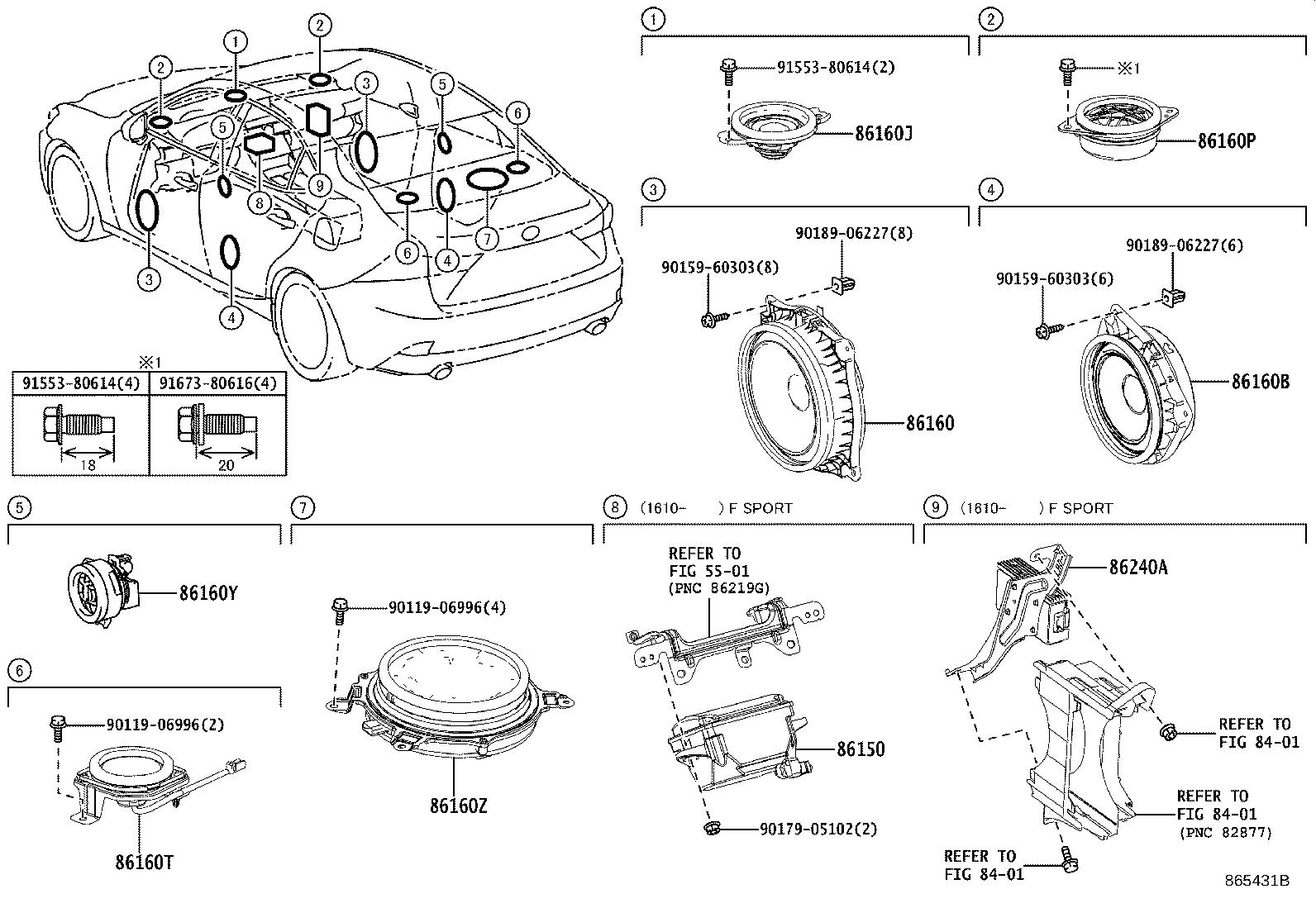 Lexus Is 250 Speaker Assembly Rear No 3 Stereo