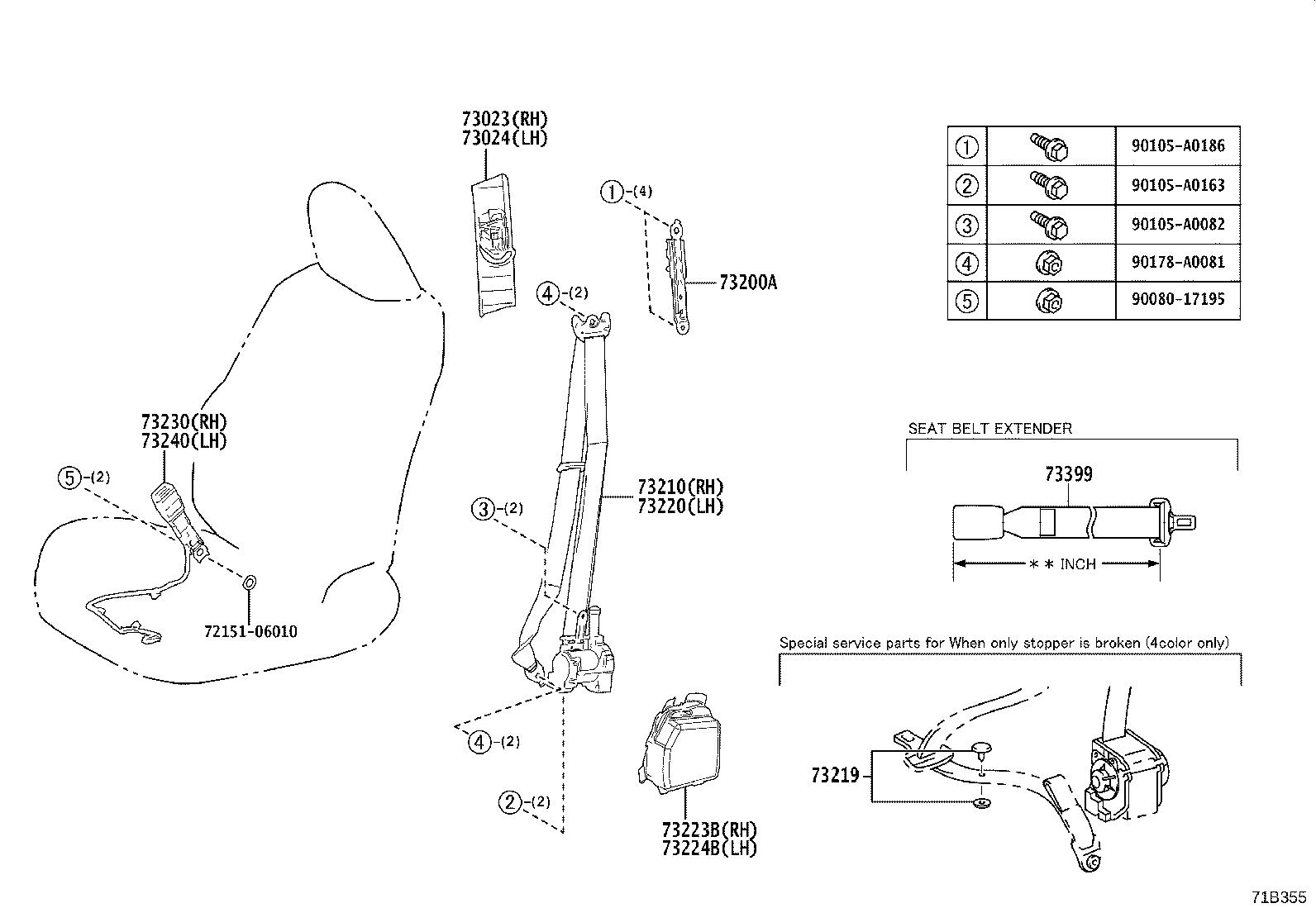 Lexus Es 350 Seat Belt Extension