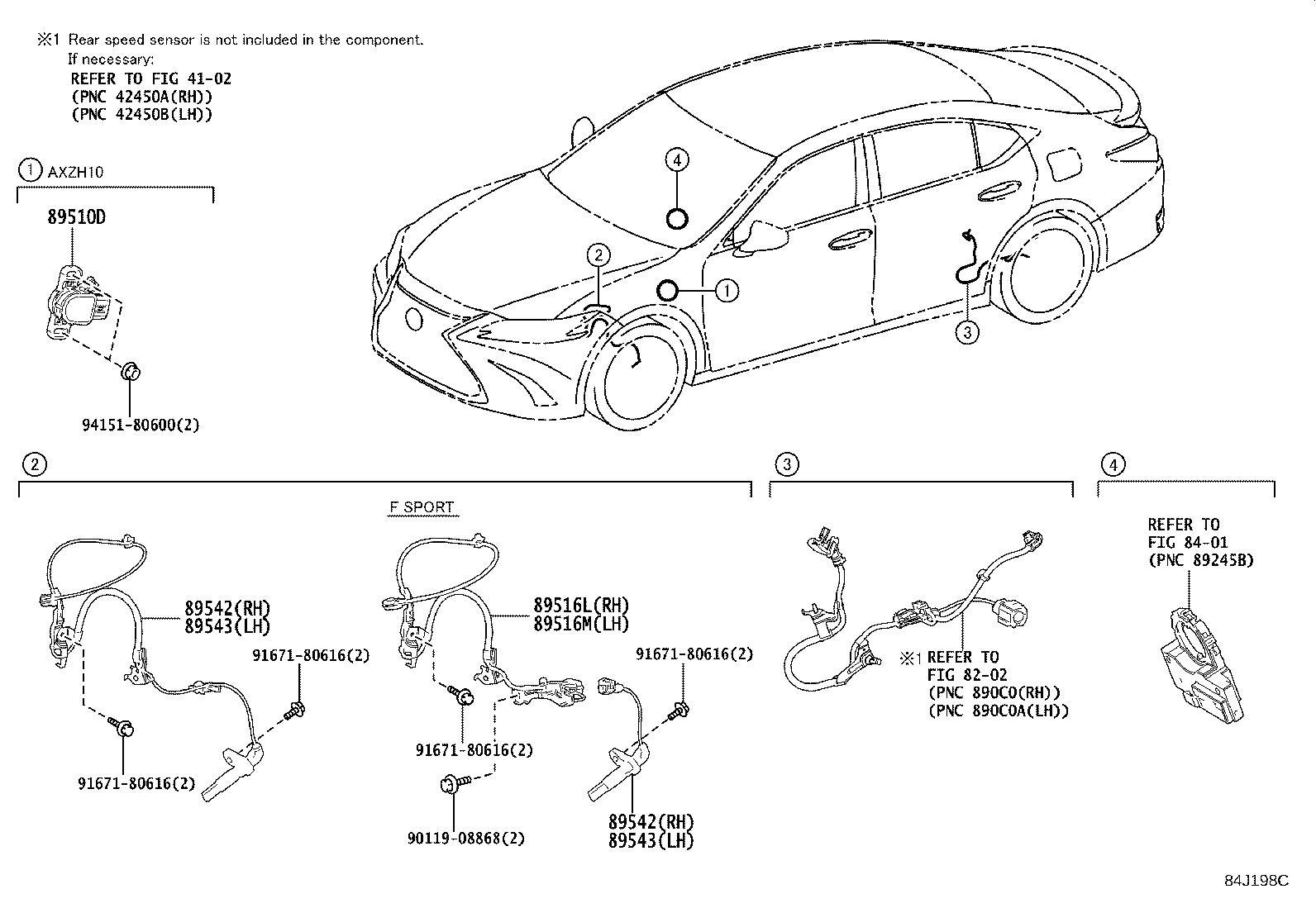 Lexus Es 350 Abs Wheel Speed Sensor Wiring Harness Left