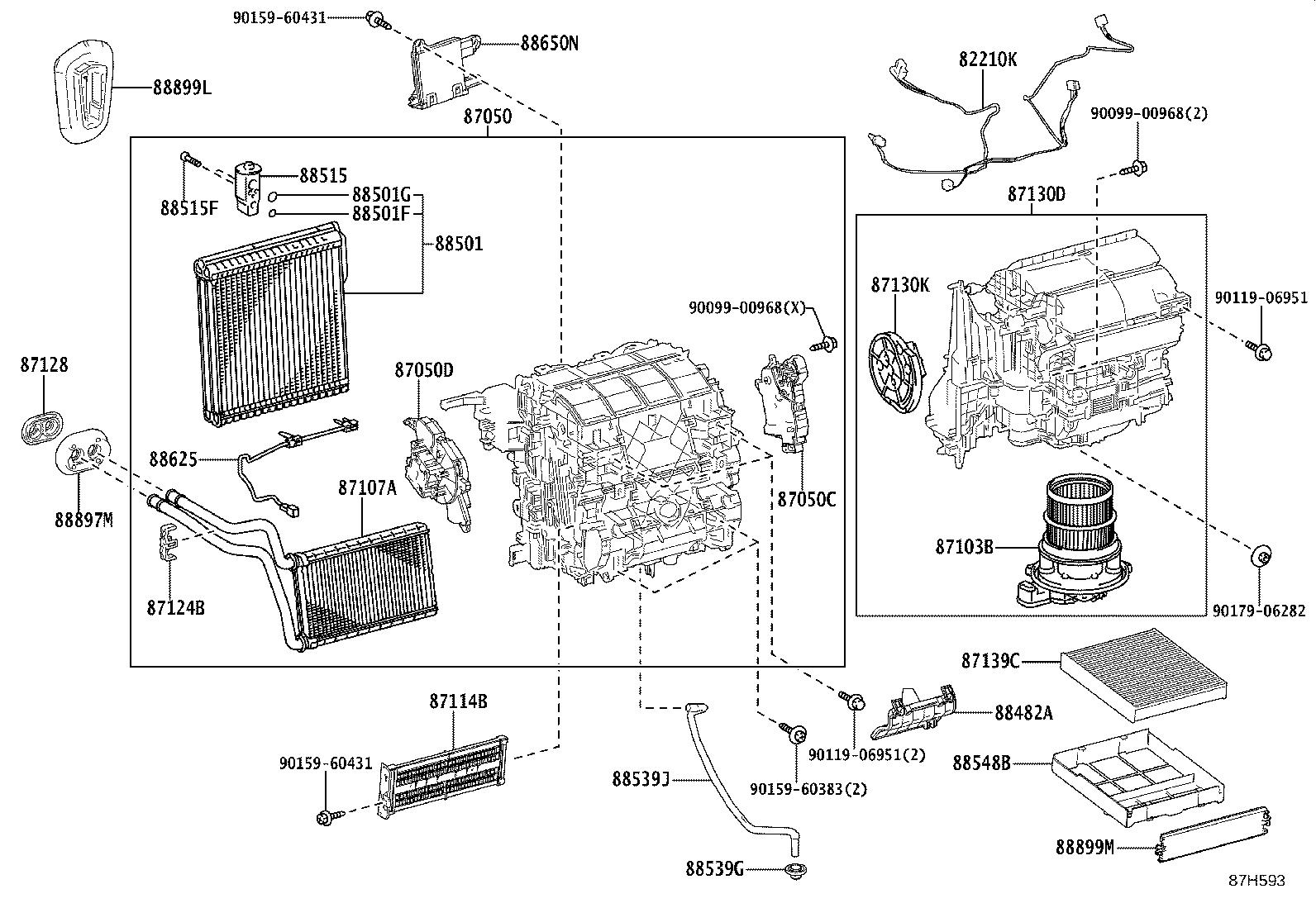 Toyota Corolla Parts Cooling Unit Conditioning Air