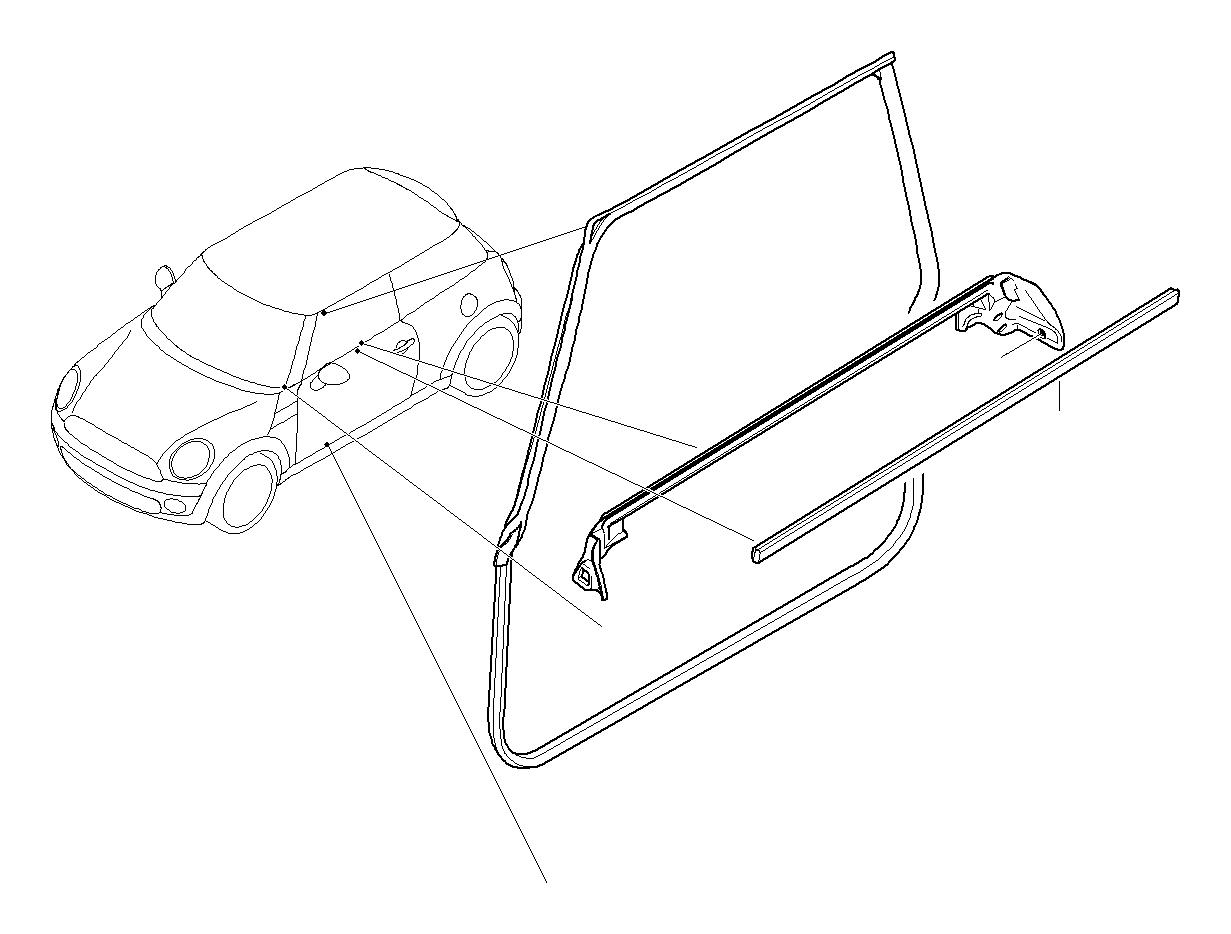 Mini Cooper S Molding Side Panel Front Left Chrom