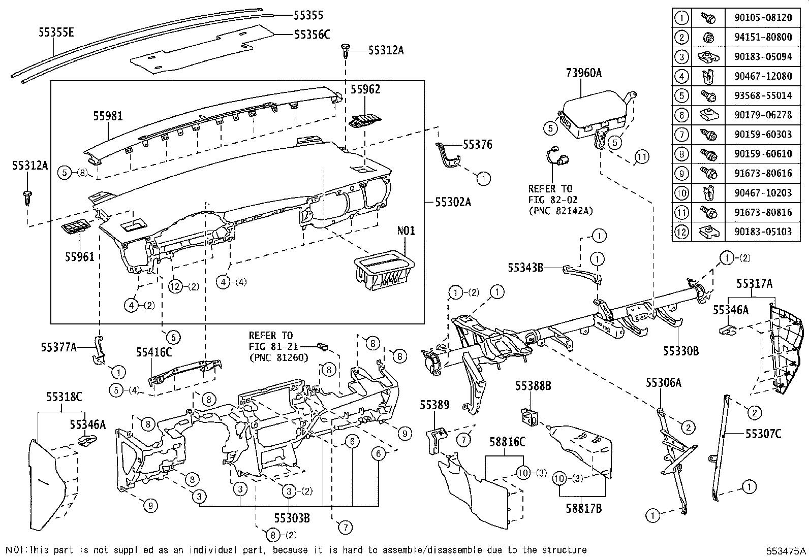 Toyota Corolla Im Instrument Panel Side Cover Front